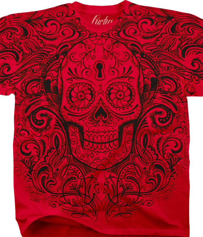 Luctus Calavera Keyhole Red T-Shirt Tee Liquid Blue