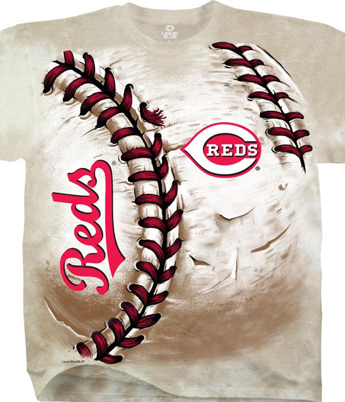 MLB Cincinnati Reds Hardball Tie-Dye T-Shirt Tee Liquid Blue