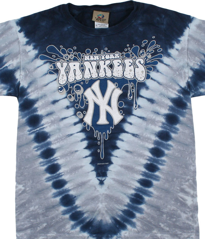 MLB New York Yankees Youth Throwback Tie-Dye T-Shirt Tee Liquid Blue