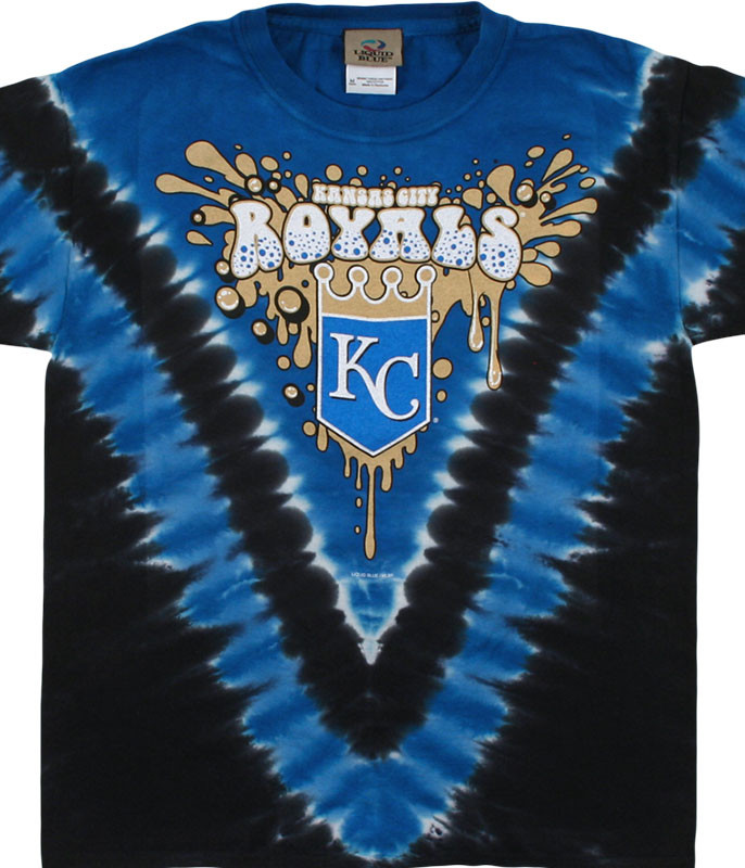 MLB Kansas City Royals Youth Throwback Tie-Dye T-Shirt Tee Liquid Blue