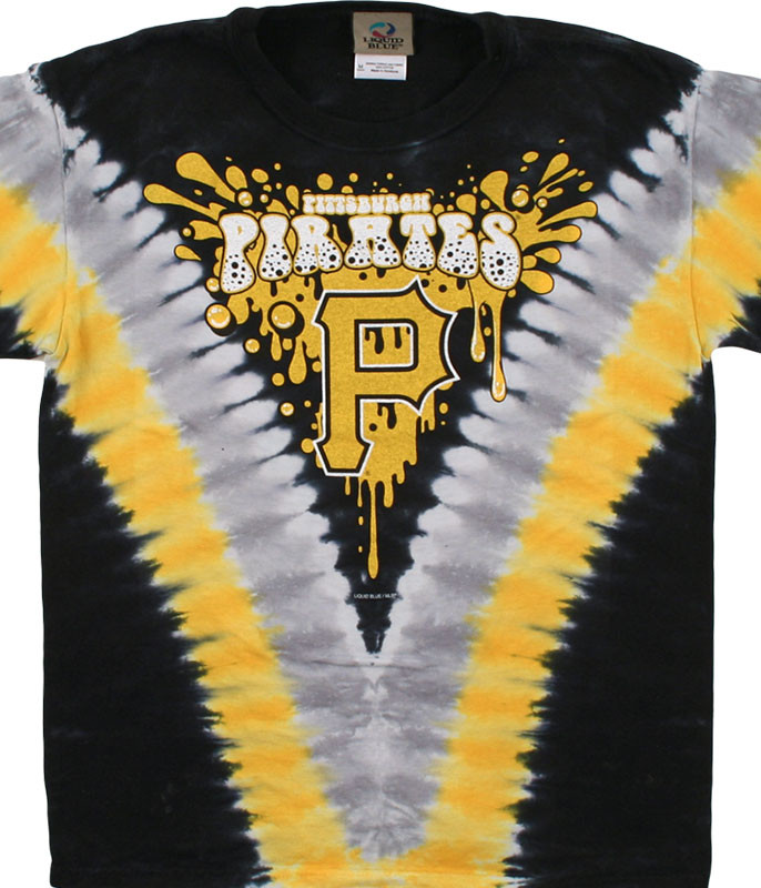 MLB Pittsburgh Pirates Youth Throwback Tie-Dye T-Shirt Tee Liquid Blue