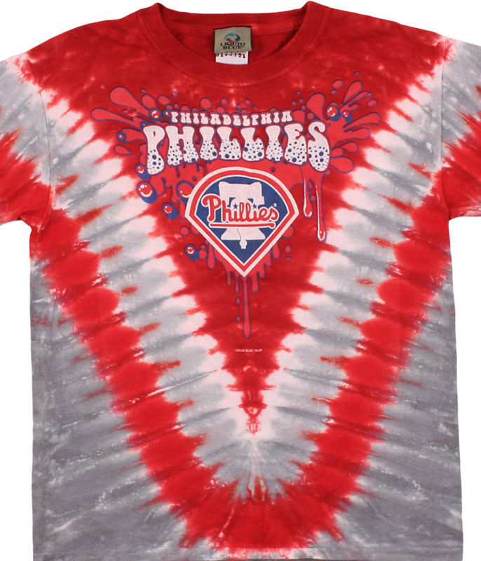 MLB Philadelphia Phillies Youth Throwback Tie-Dye T-Shirt Tee Liquid Blue
