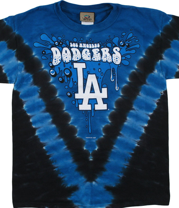 MLB Los Angeles Dodgers Youth Throwback Tie-Dye T-Shirt Tee Liquid Blue
