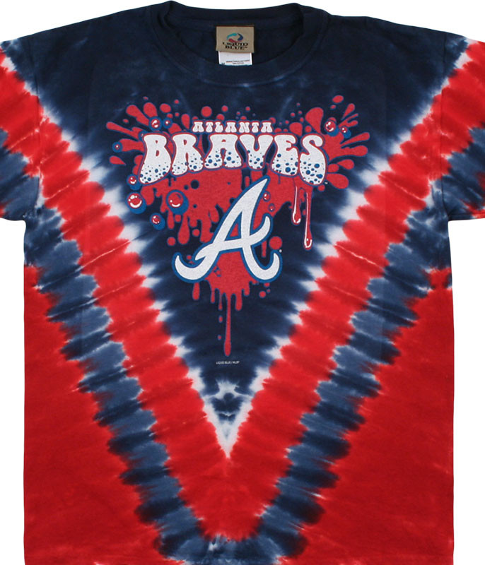 MLB Atlanta Braves Youth Throwback Tie-Dye T-Shirt Tee Liquid Blue