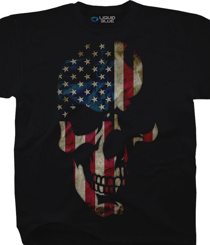 AMERICAN SKULL BLACK T-SHIRT