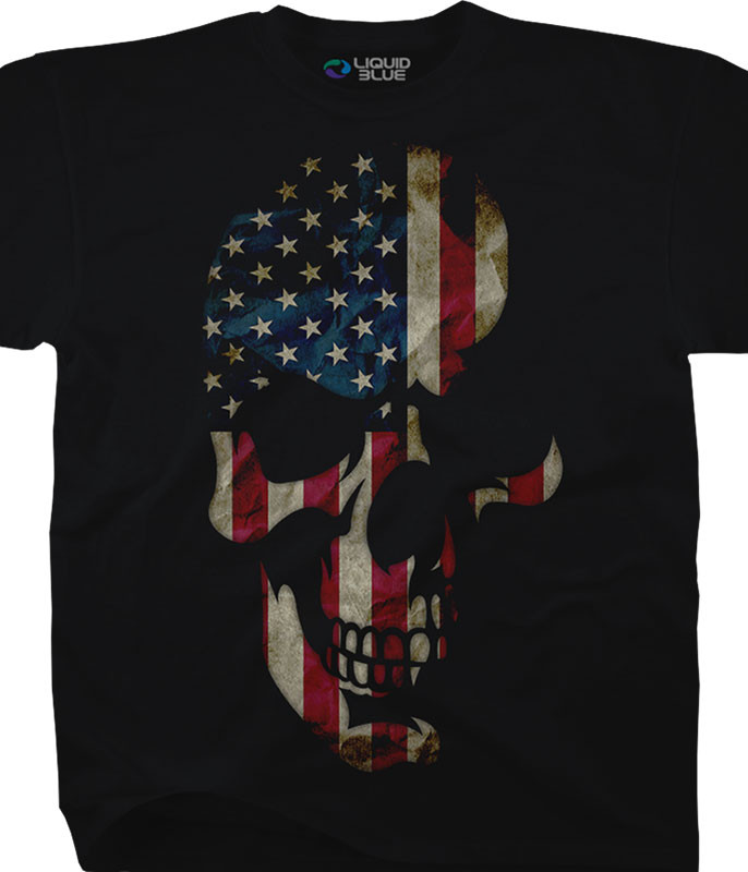 Skulls American Skull Black T-Shirt Tee Liquid Blue