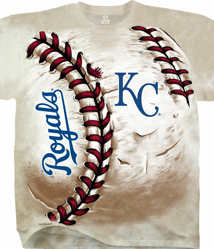 MLB Kansas City Royals Hardball Tie-Dye T-Shirt Tee Liquid Blue