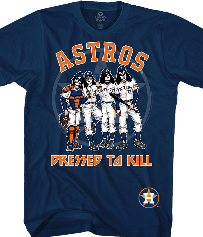 MLB Houston Astros KISS Dressed to Kill Navy T-Shirt Tee Liquid Blue