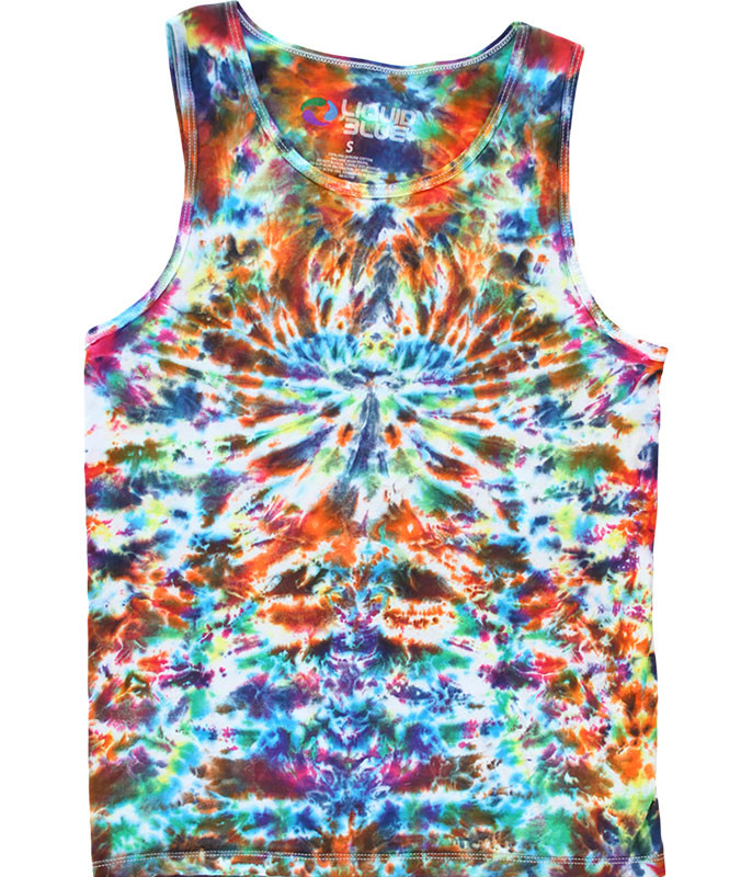 Crazy Krinkle Unprinted Tie-Dye Tank Top T-Shirt Tee Liquid Blue