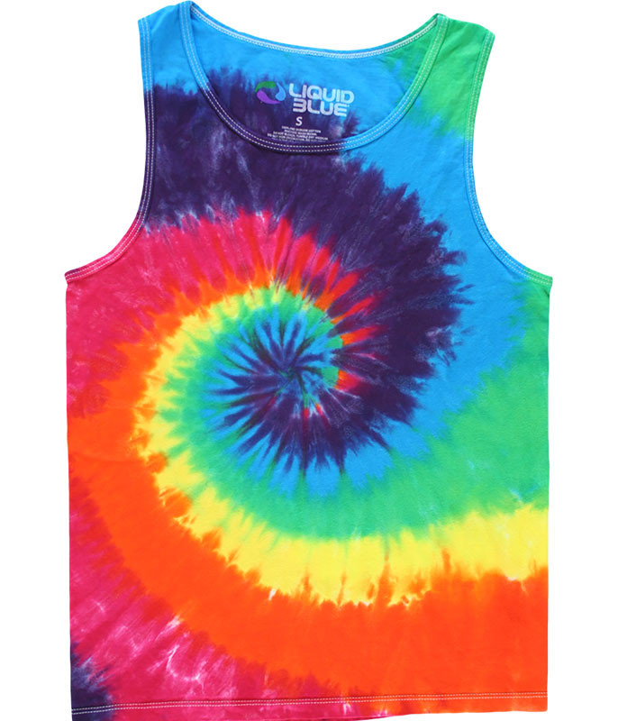 RAINBOW SPIRAL UNPRINTED TIE-DYE TANK TOP T-SHIRT
