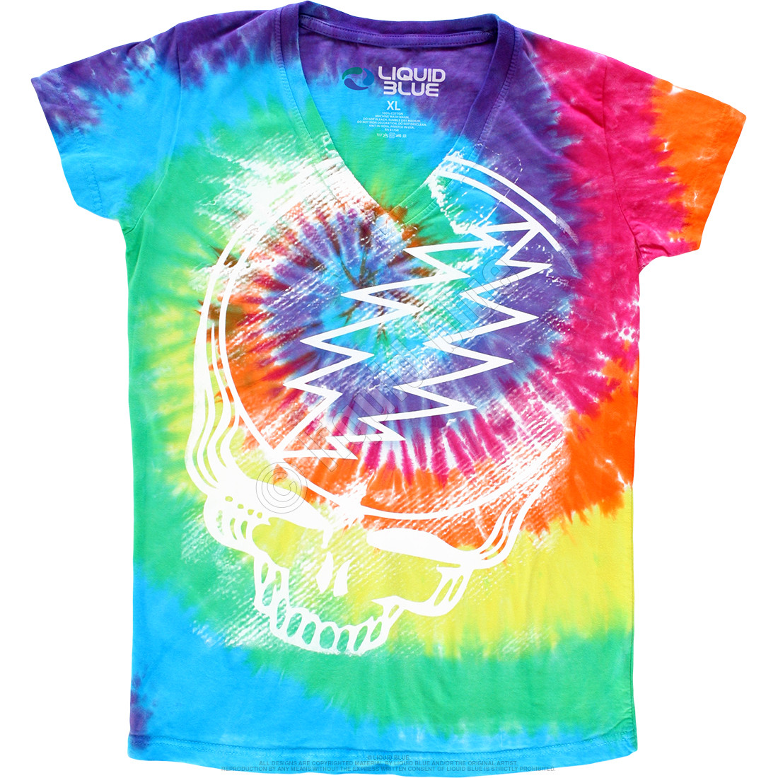 Stealie Tie-Dye Juniors Long Length V-Neck T-Shirt