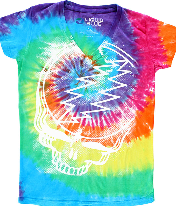 Grateful Dead Stealie Tie-Dye Juniors Long Length V-Neck T-Shirt Tee Liquid Blue