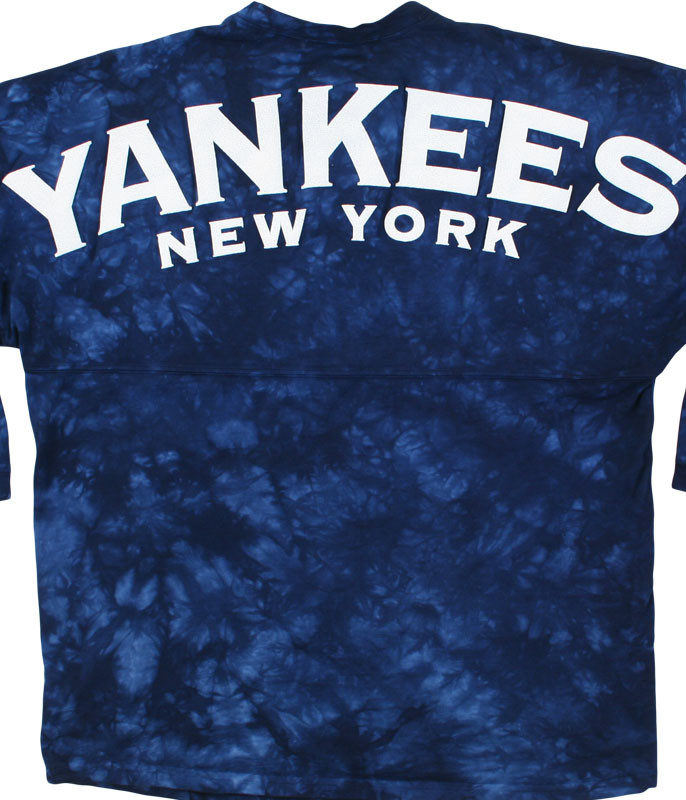 MLB New York Yankees Inside the Park Tie-Dye Boyfriend Jersey Liquid Blue