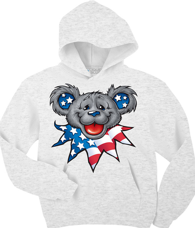 Grateful Dead Patriot Bear Head Custom Hoodie Liquid Blue