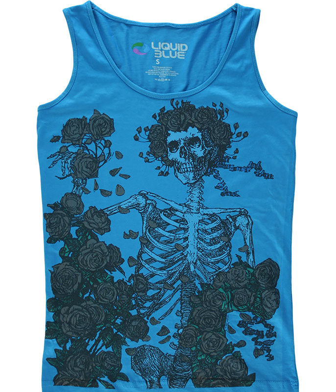 Grateful Dead Skeleton and Roses Blue Juniors Tank Top T-Shirt Tee Liquid Blue