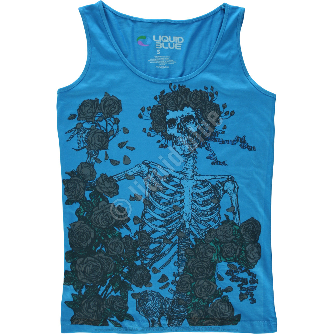 Skeleton and Roses Blue Juniors Tank Top T-Shirt