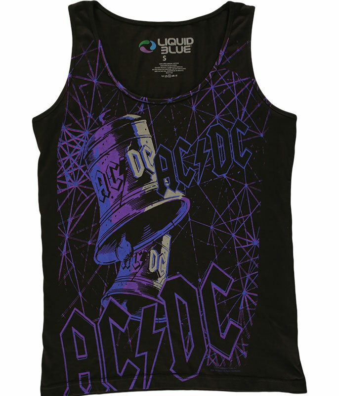 AC/DC Got Me Ringing Juniors Black Tank Top T-Shirt Tee Liquid Blue