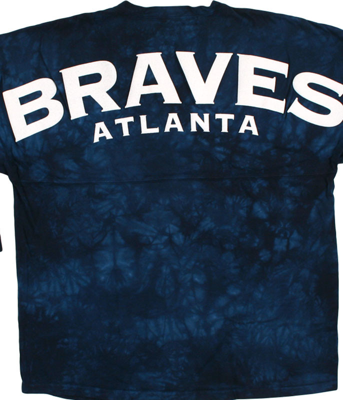 MLB Atlanta Braves Inside the Park Tie-Dye Boyfriend Jersey Liquid Blue