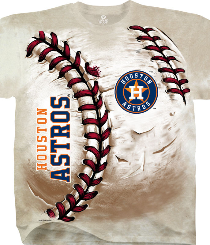 MLB Houston Astros Hardball Tie-Dye T-Shirt Tee Liquid Blue