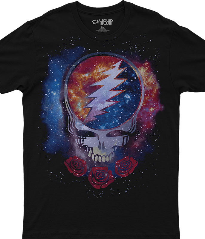 Grateful Dead Cosmic Stealie Black T-Shirt Tee Liquid Blue