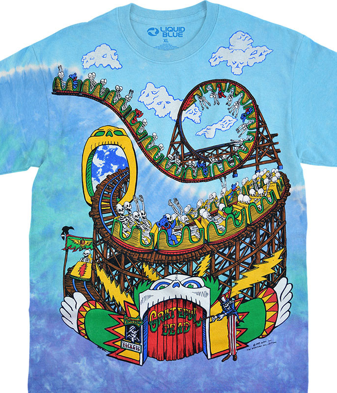 Grateful Dead Amusement Park Tie-Dye T-Shirt Tee Liquid Blue