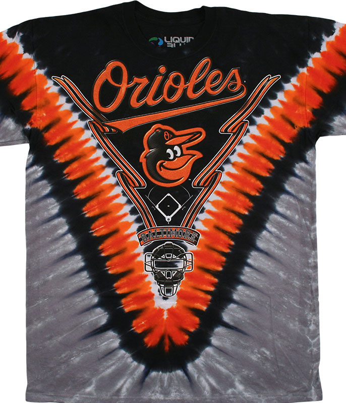 MLB Baltimore Orioles V Tie-Dye T-Shirt Tee Liquid Blue