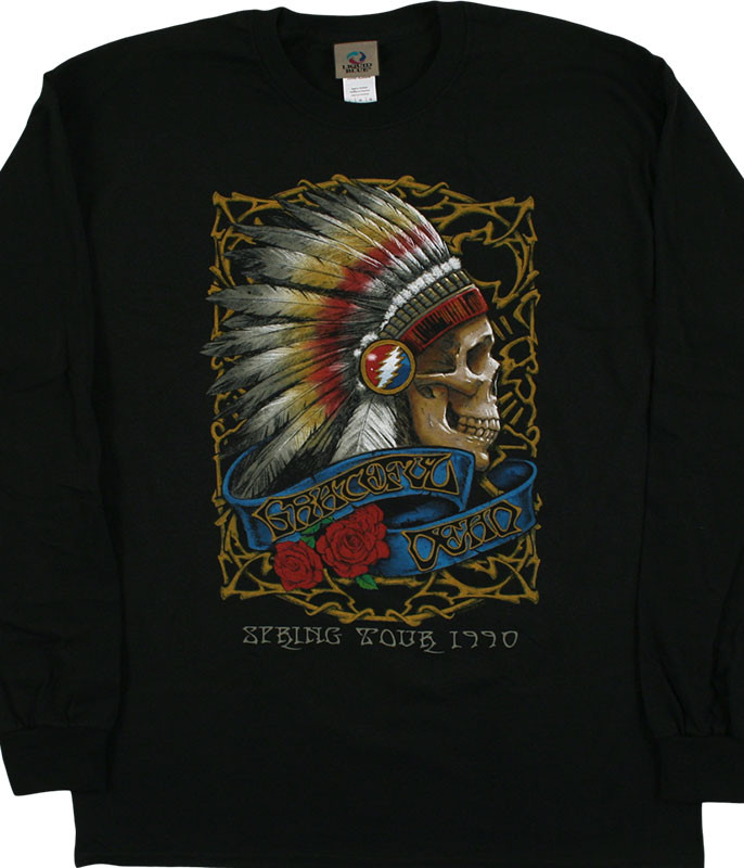 Grateful Dead Spring Tour '90 Black Long Sleeve T-Shirt Tee Liquid Blue