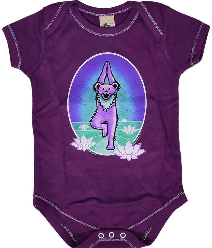 Grateful Dead GD Yoga Bear Purple Onesie
