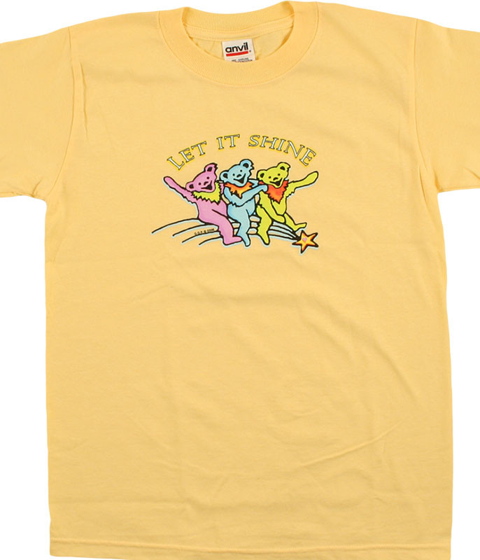Grateful Dead GD Let it Shine Youth Yellow T-Shirt Tee