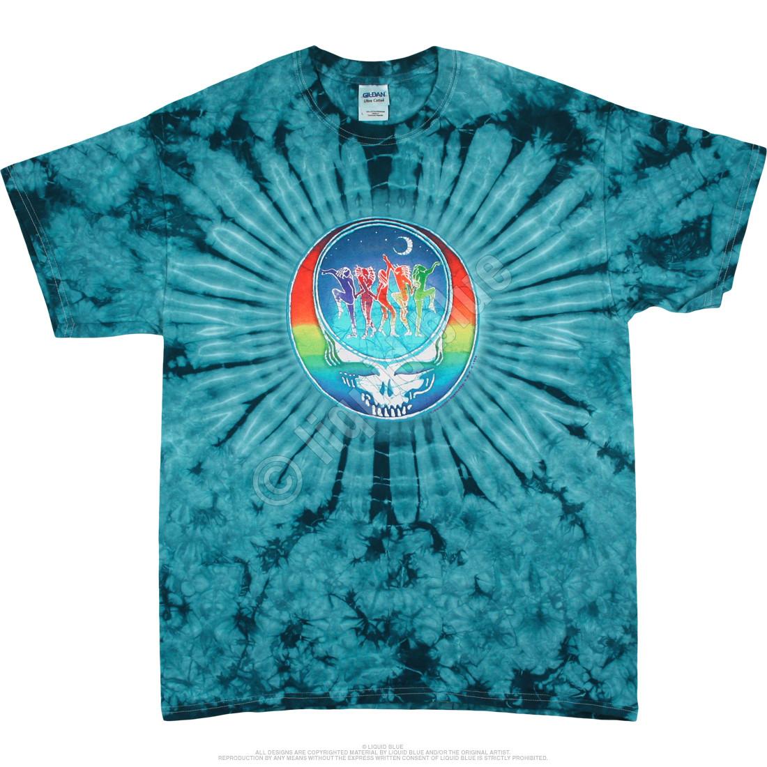 GRATEFUL DEAD T-shirt Licensed Retro Skull Roses Tee Heather Blue Mens SMALL New