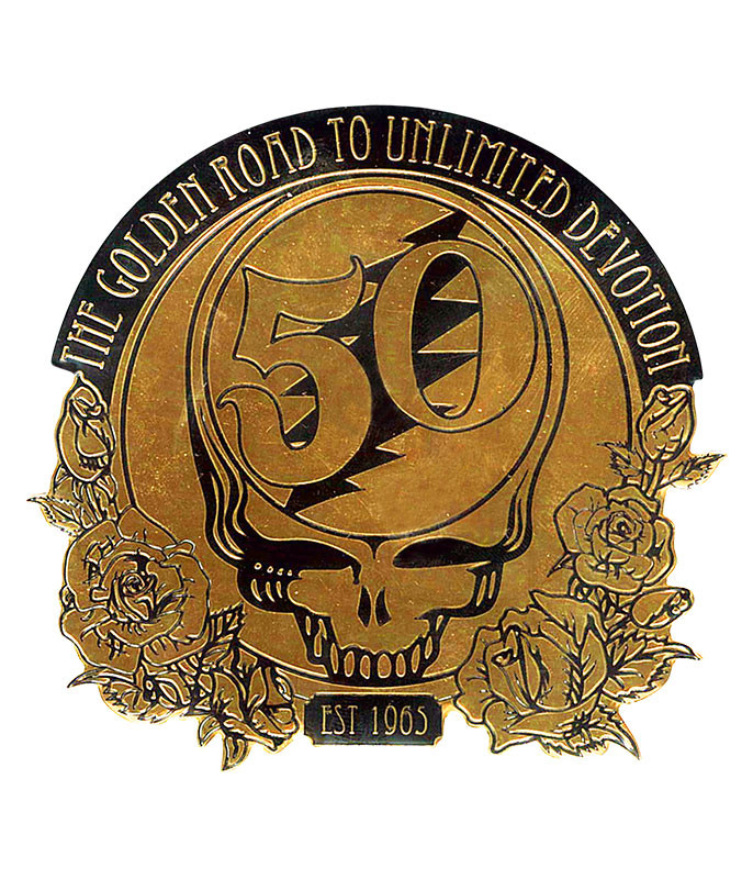 Grateful Dead GD 50th Anniversary Gold Metal Sticker