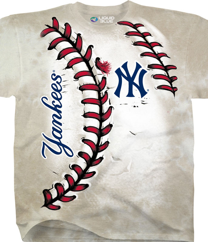 MLB New York Yankees Youth Hardball Tie-Dye T-Shirt Tee Liquid Blue