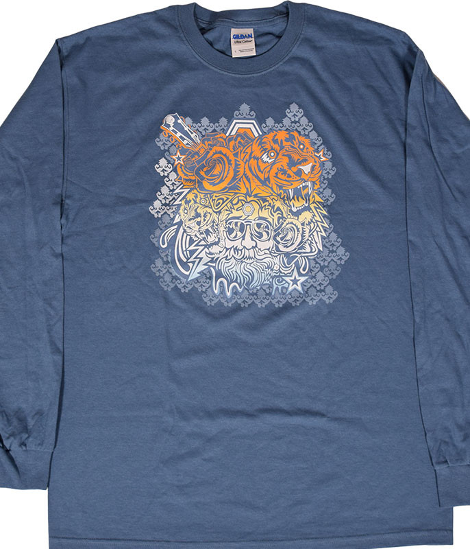Jerry Garcia Tigers Blue Long Sleeve T-Shirt Tee .