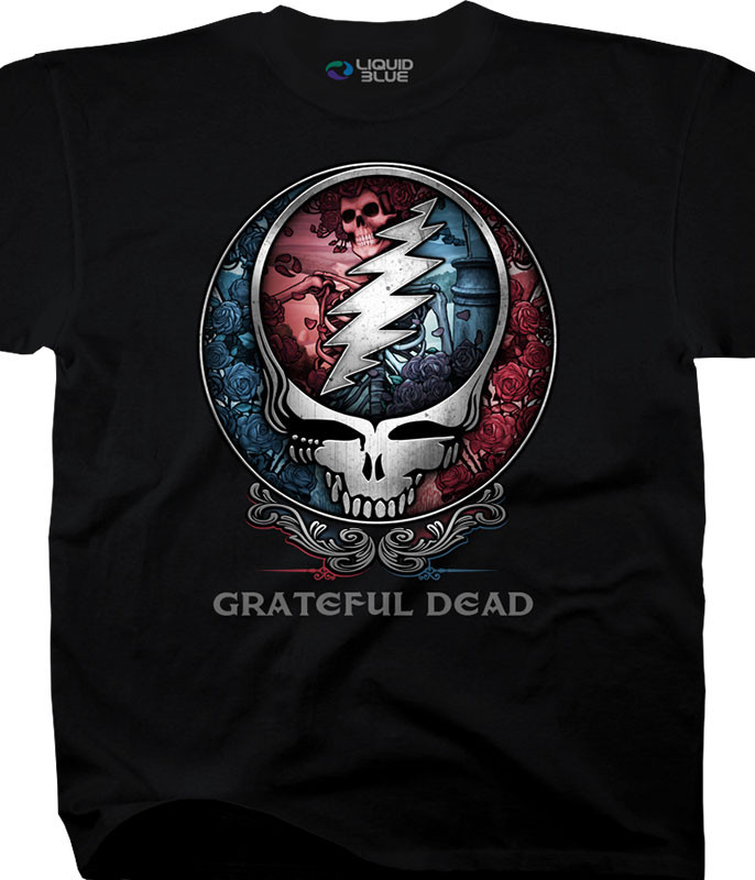 Grateful Dead Bertha SYF Black T-Shirt Tee Liquid Blue