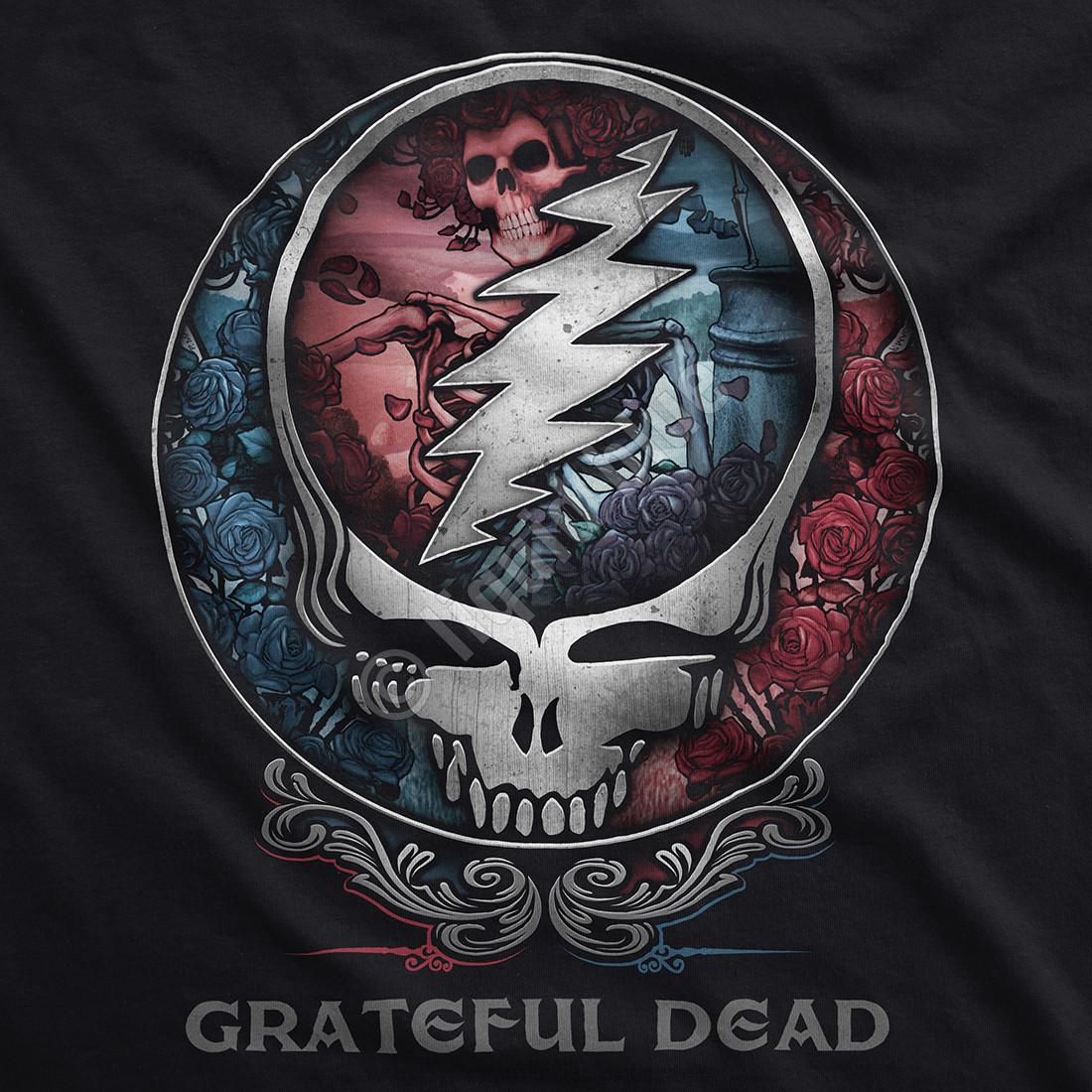 Grateful Dead Bertha Syf Black T Shirt Tee Liquid Blue