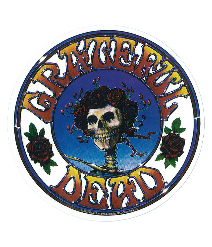 Grateful Dead GD Skull and Roses Logo Sticker