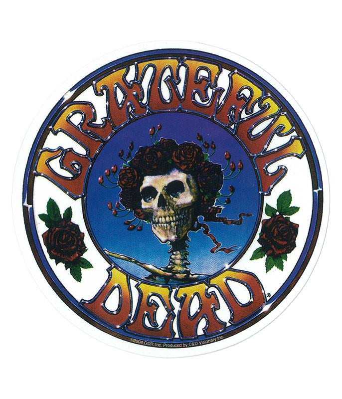Grateful Dead GD Skull and Roses Logo Sticker