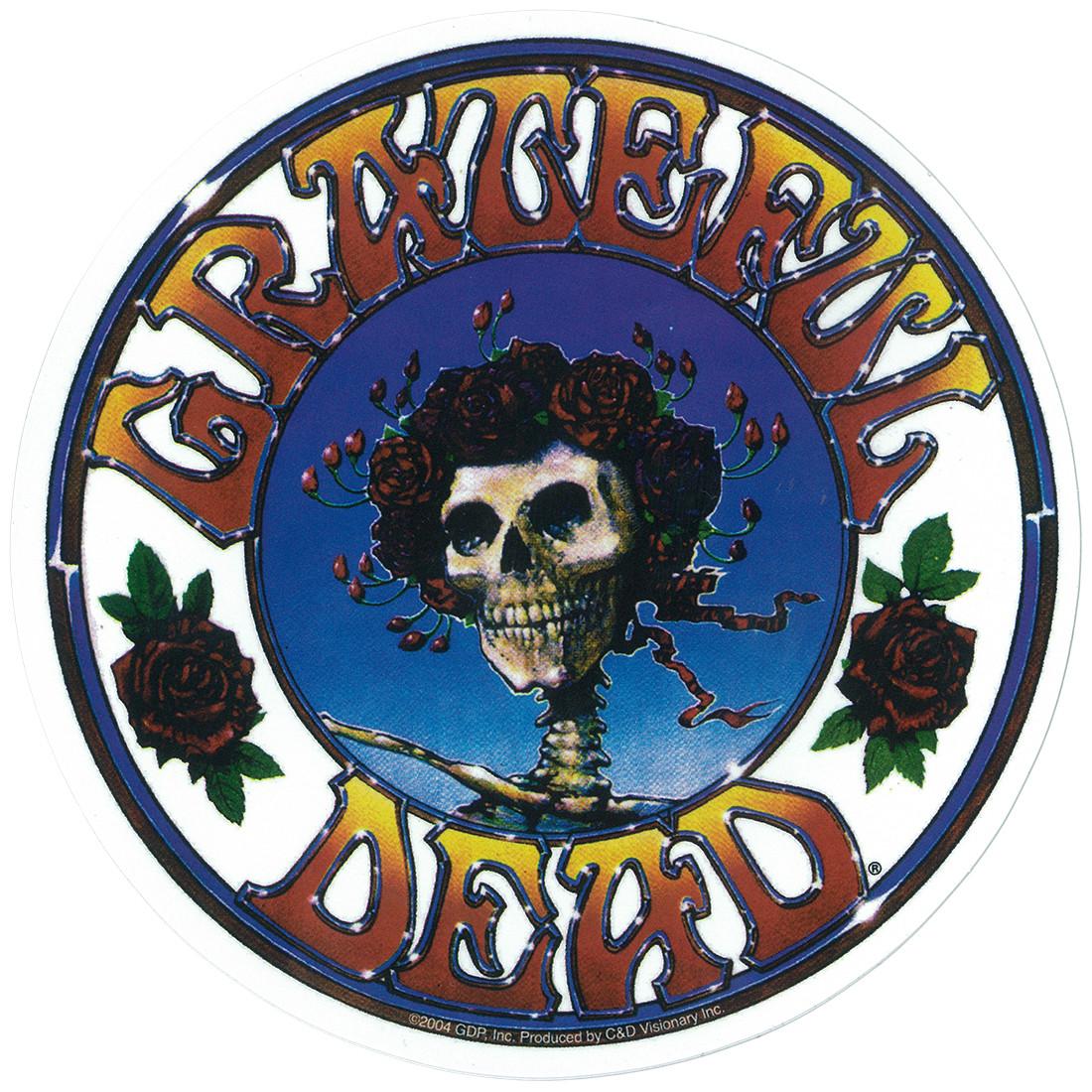 Grateful Dead Gd Skull And Roses Logo Sticker Liquid Blue