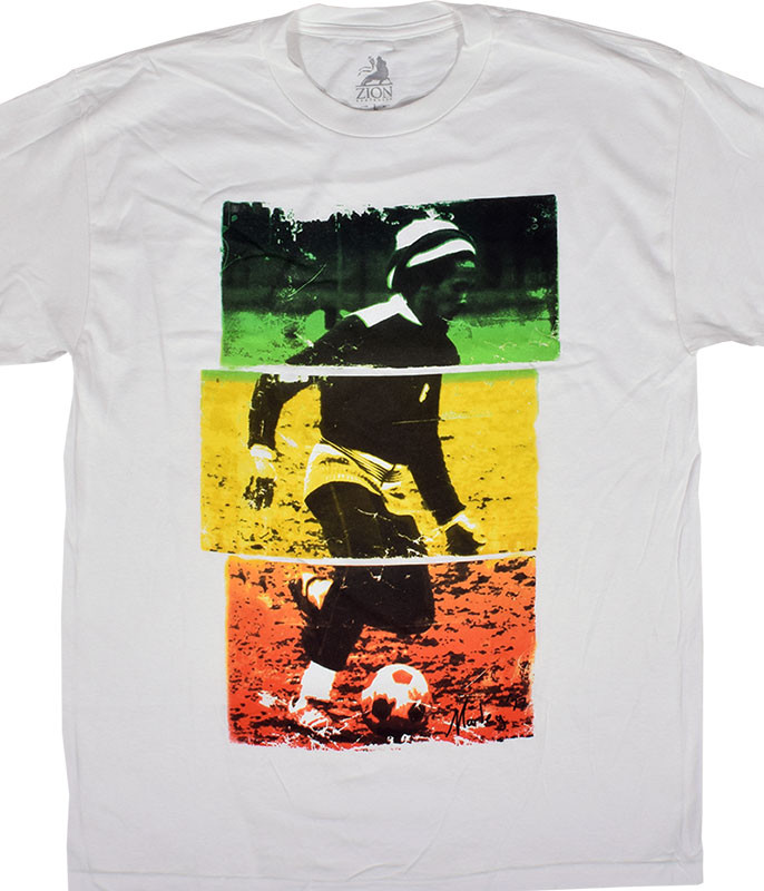 Bob Marley Soccer Tri-Color White T-Shirt Tee