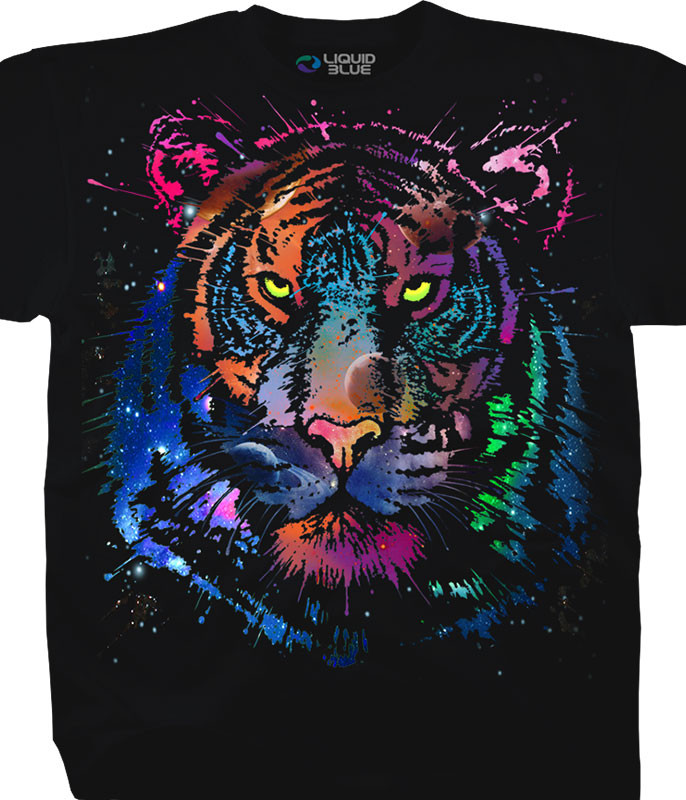 Exotic Wildlife Cosmic Tiger Black T-Shirt Tee Liquid Blue