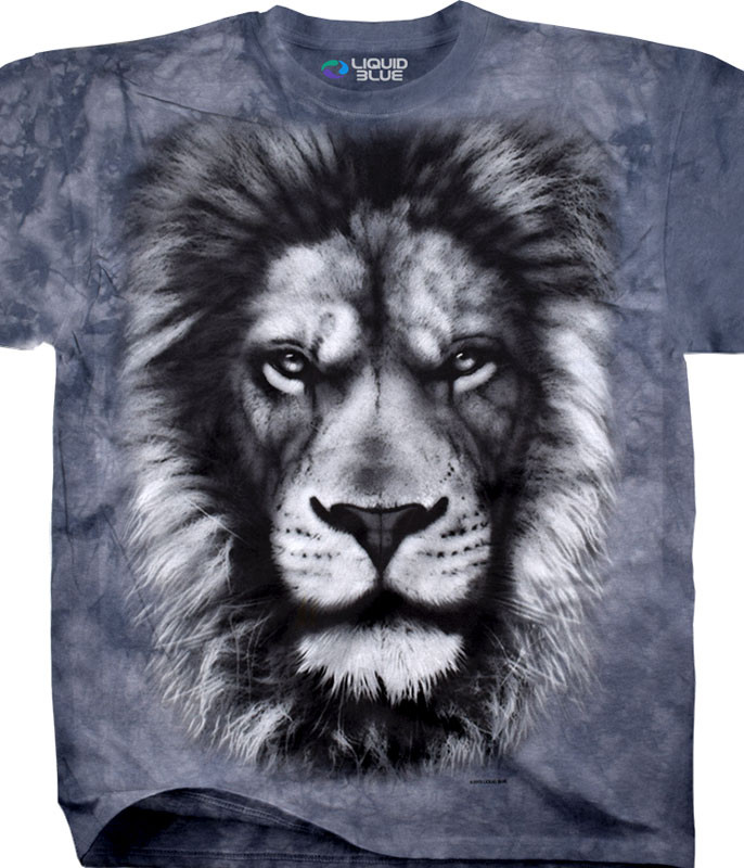 Exotic Wildlife Lion Glare Tie-Dye T-Shirt Tee Liquid Blue