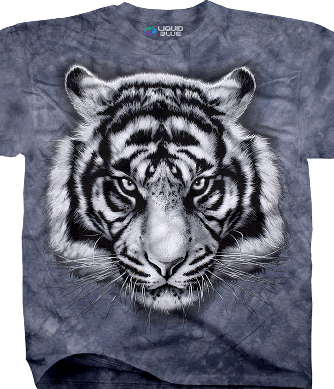 Exotic Wildlife Tiger Glare Tie-Dye T-Shirt Tee Liquid Blue