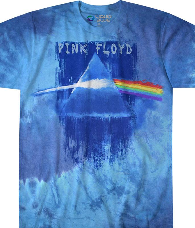 Pink Floyd Prism Paint Tie-Dye T-Shirt Tee Liquid Blue