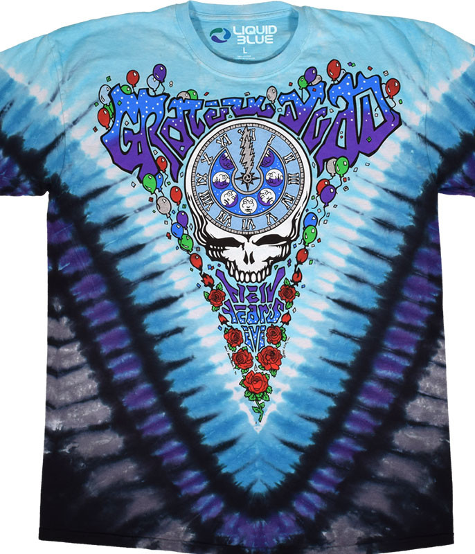 Grateful Dead Midnight Hour Tie-Dye T-Shirt Tee Liquid Blue