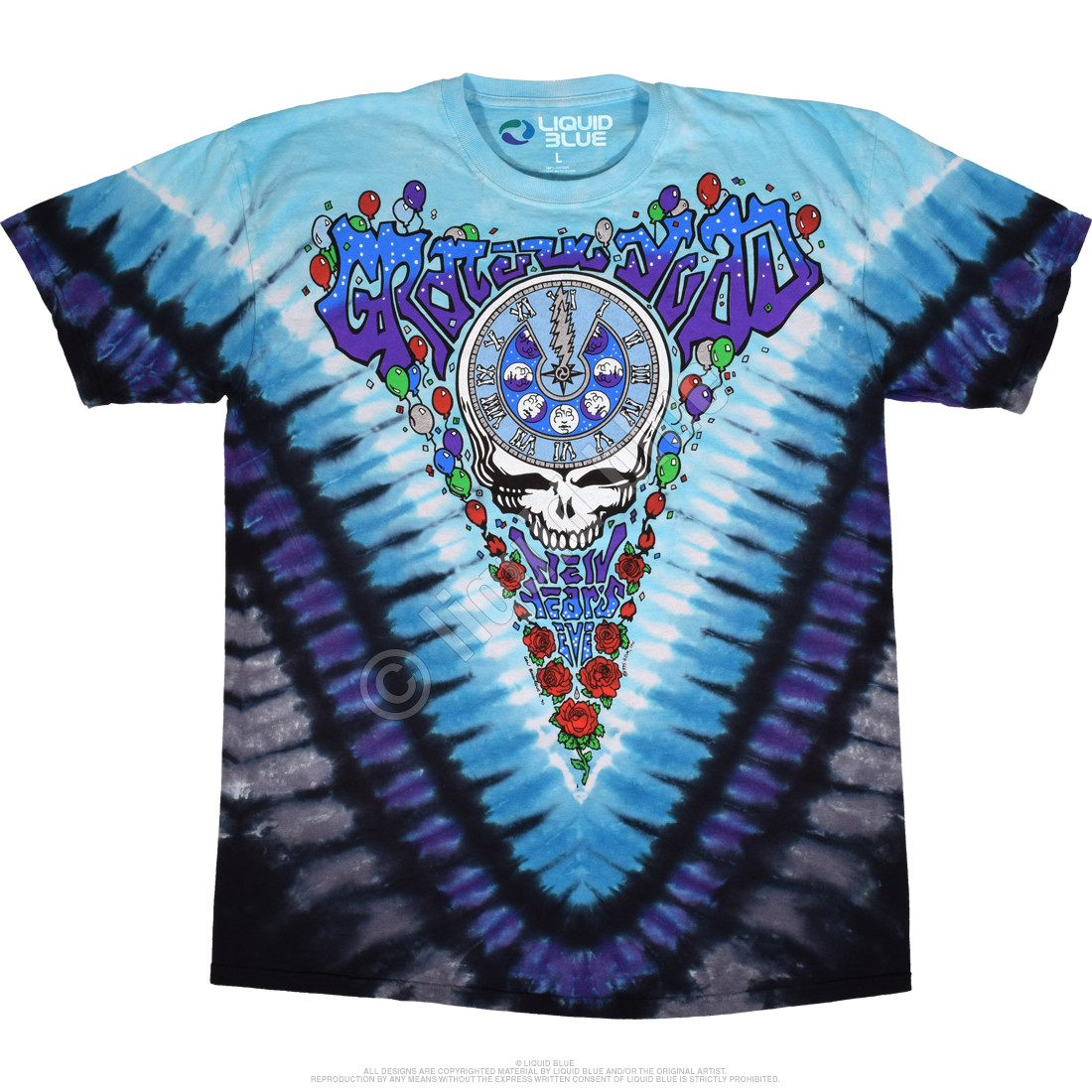 6a5a54613 Grateful Dead Midnight Hour Tie-Dye T-Shirt Tee Liquid Blue