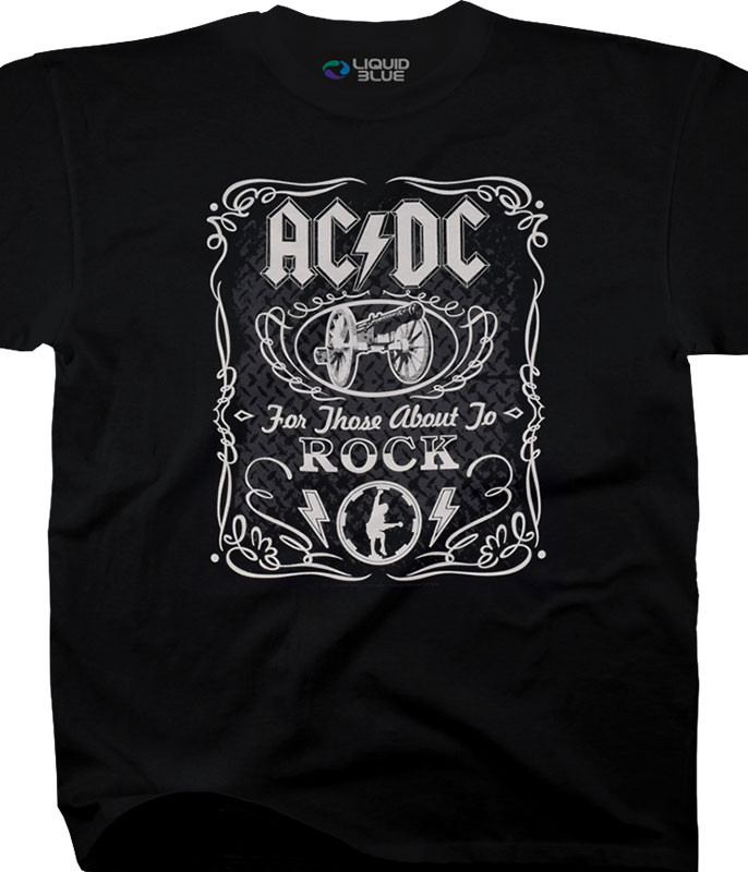 AC/DC Label Black T-Shirt Tee Liquid Blue