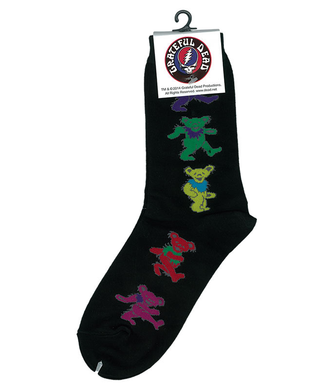 Grateful Dead GD Dancing Bear Ladies Black Socks