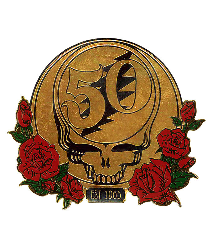 Grateful Dead GD 50th Anniversary Gold and Roses Metal Sticker