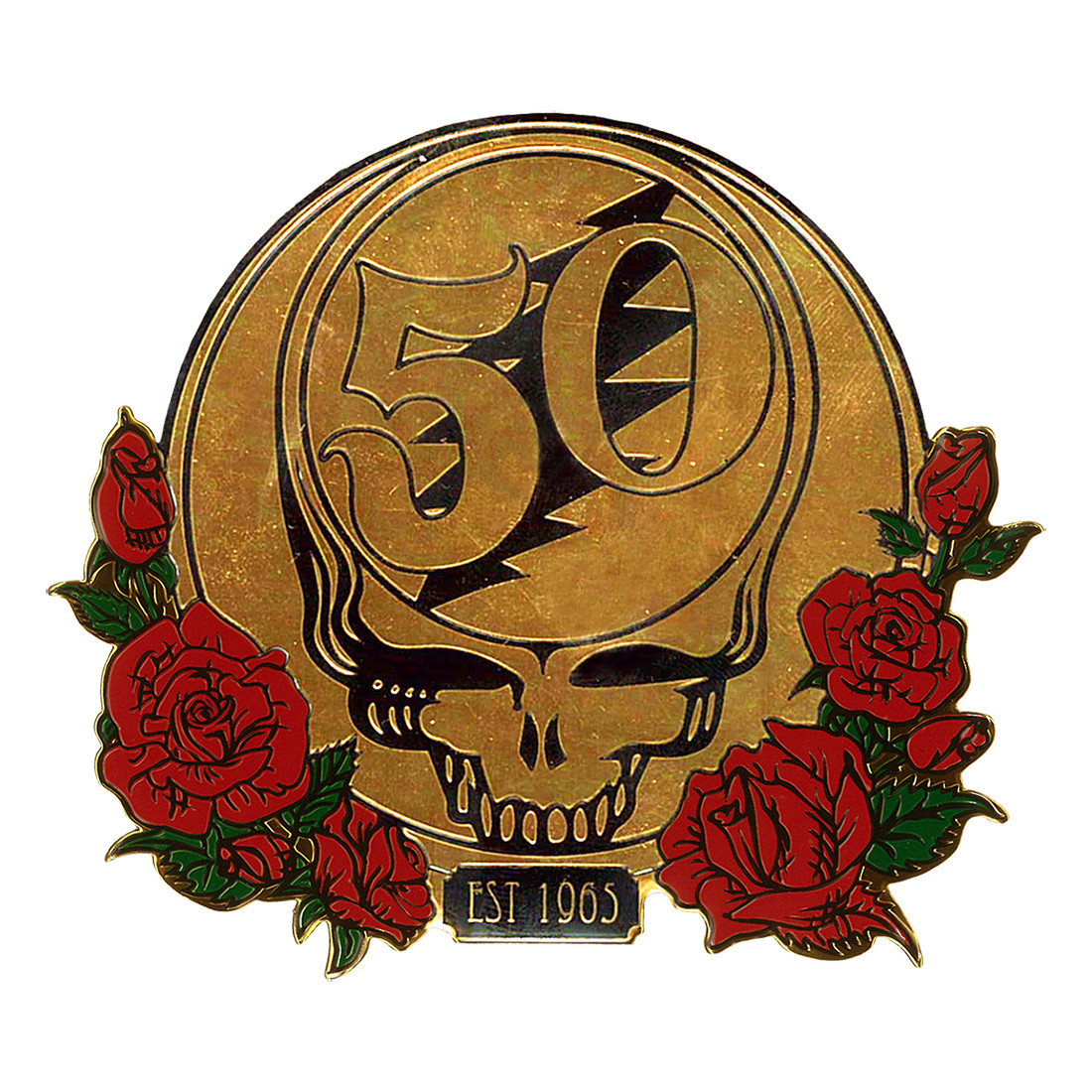 GD 50th Anniversary Gold and Roses Metallic Sticker