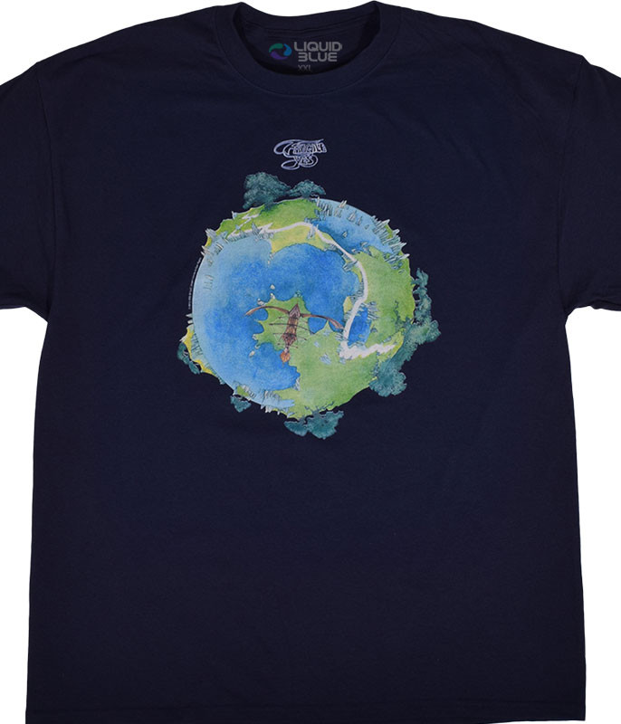 Yes Fragile Navy T-Shirt Tee Liquid Blue